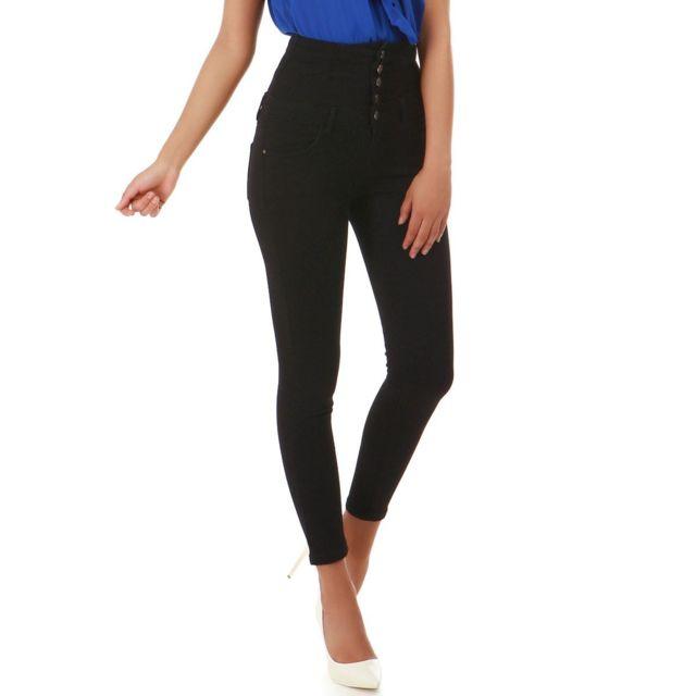 453cbdda92 Lamodeuse - Jeans noir taille haute avec laçage - pas cher Achat ...