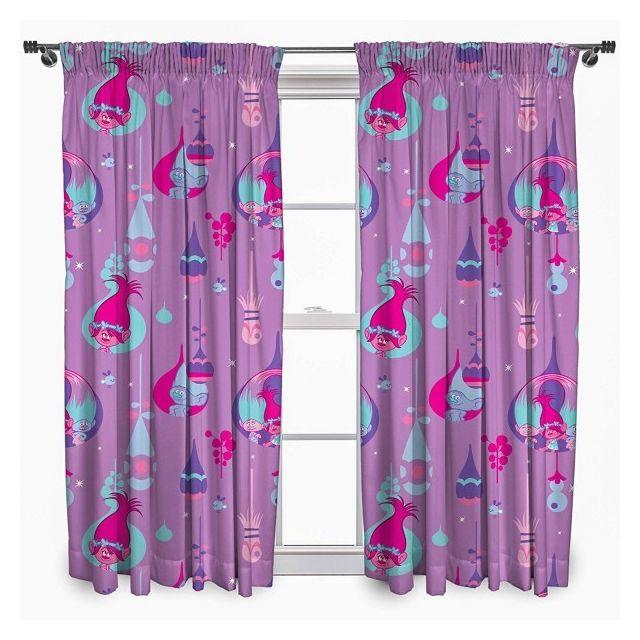 Trolls - Les - Double rideaux enfant 135 cm Multicolore - pas cher ...