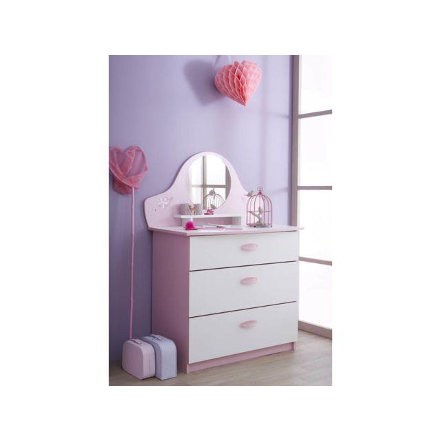 HABITAT ET JARDIN Commode Papillon - 84.7 x 50.1 x 97.2 cm - Rose orchidée/blanc perle