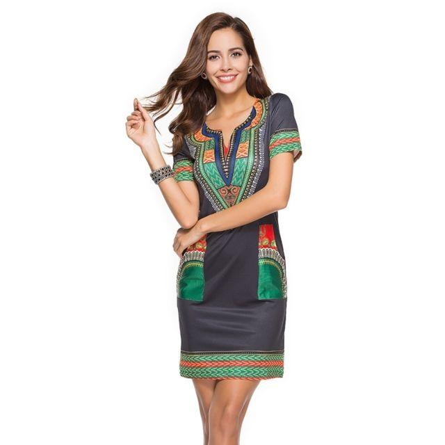 8a730b772f6 Wewoo - Robe Femme noir et vert Nouveau Femmes D été Sexy Serré Style  Ethnique Manches Courtes V-cou Vintage Imprimer Mini Robe