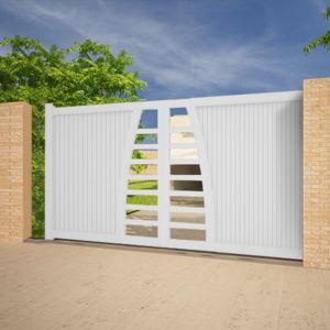 emalu portail alu coulissant droit ouverture droite blanc 3 50x1 60m hibiki pas cher achat. Black Bedroom Furniture Sets. Home Design Ideas