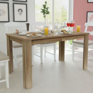 Vidaxl table de salle manger 140 x 80 75 cm ch ne brun for Table salle a manger 140 cm