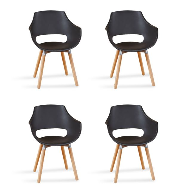 Oneboutic Lot de 4 fauteuils scandinaves noirs - Treia