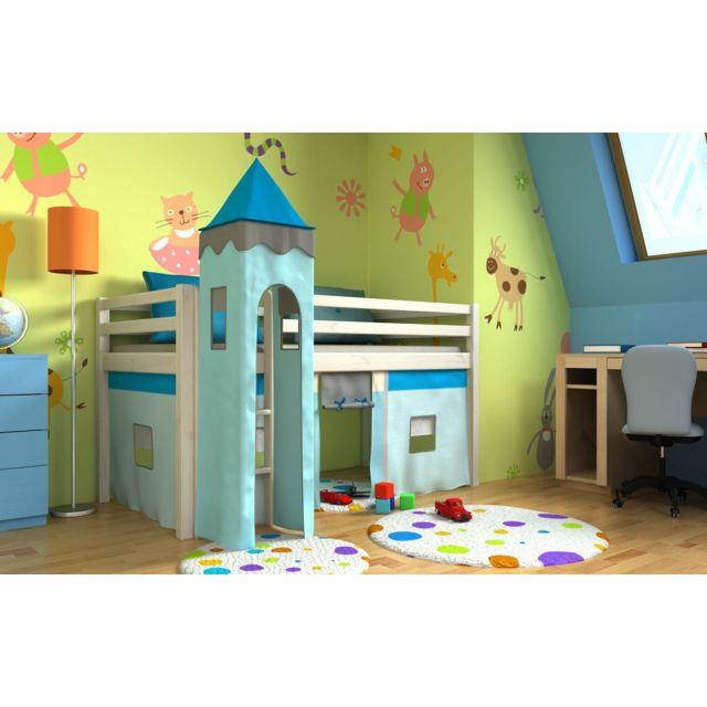 mpc lit enfant blanc avec tour sommier matelas et rideau sebpeche31. Black Bedroom Furniture Sets. Home Design Ideas