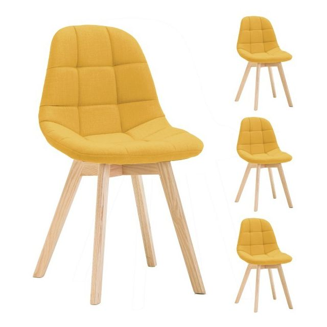 Moloo Lot X4 Chaises Scandinave tissu Curry pieds chêne