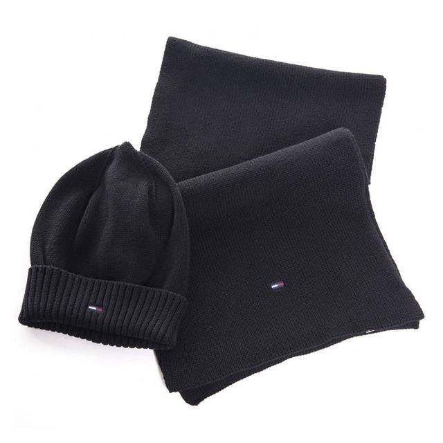 a679f7173413 Tommy Hilfiger - Pack bonnet et écharpe homme noir en coton - pas cher Achat    Vente Casquettes, bonnets, chapeaux - RueDuCommerce