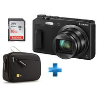 PANASONIC - Pack Débutant -LUMIX-TZ57-NOIR + Carte SD 16GO + Housse Case Logic TBC403K