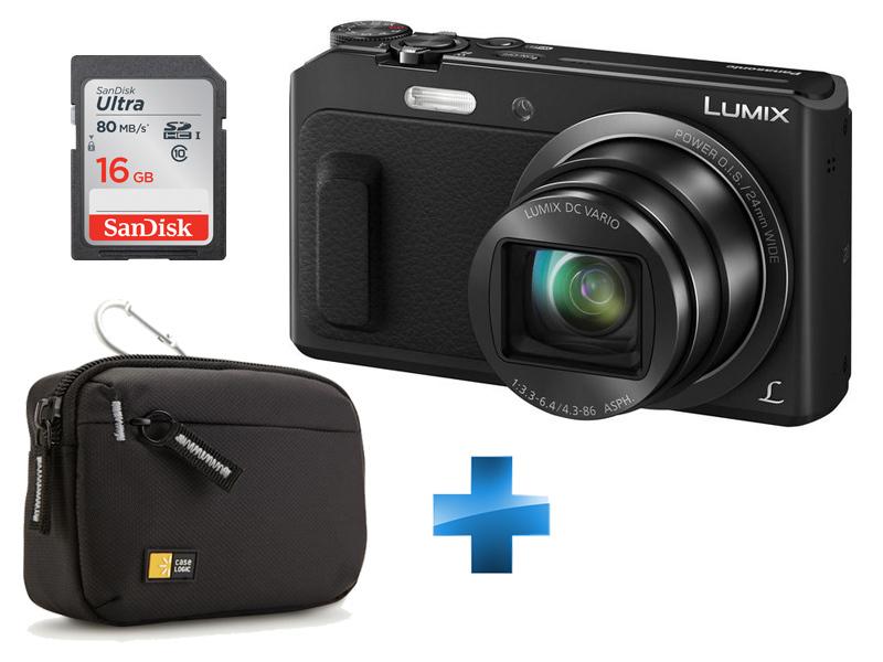 Pack Débutant -LUMIX-TZ57-NOIR + Carte SD 16GO + Housse Case Logic TBC403K