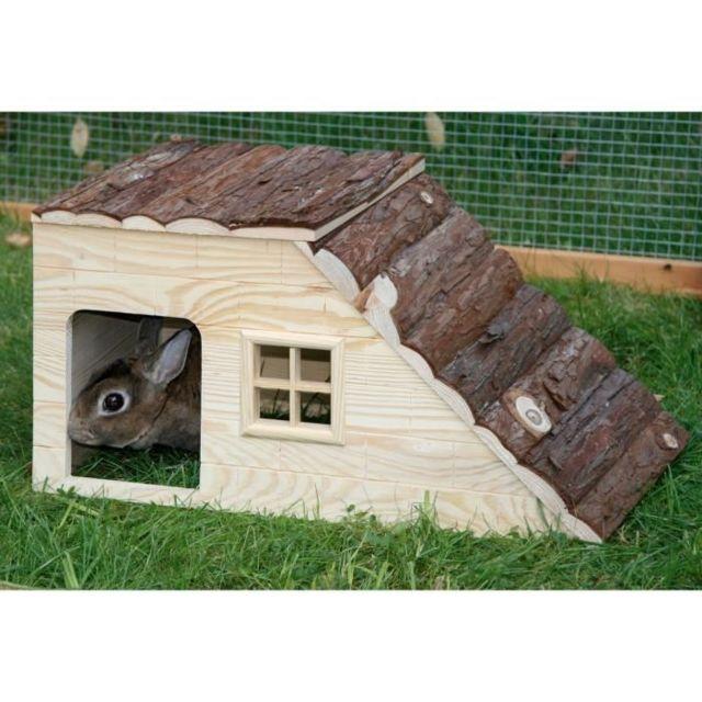 Icaverne ACCESSOIRE DE CAGE - ABRI PETIT ANIMAL Maison Nature avec rampe pour rongeurs - 49x25x25cm