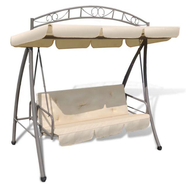 Vidaxl Chaise oscillante d'extérieur avec baldaquin Sable Blanc - 43241 | Blanc