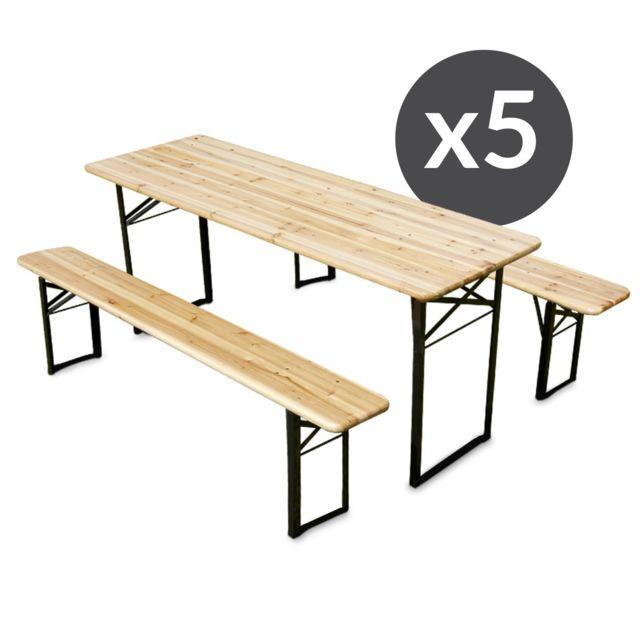 Mobeventpro Ensembles table et bancs brasserie pique-nique en bois 8 places