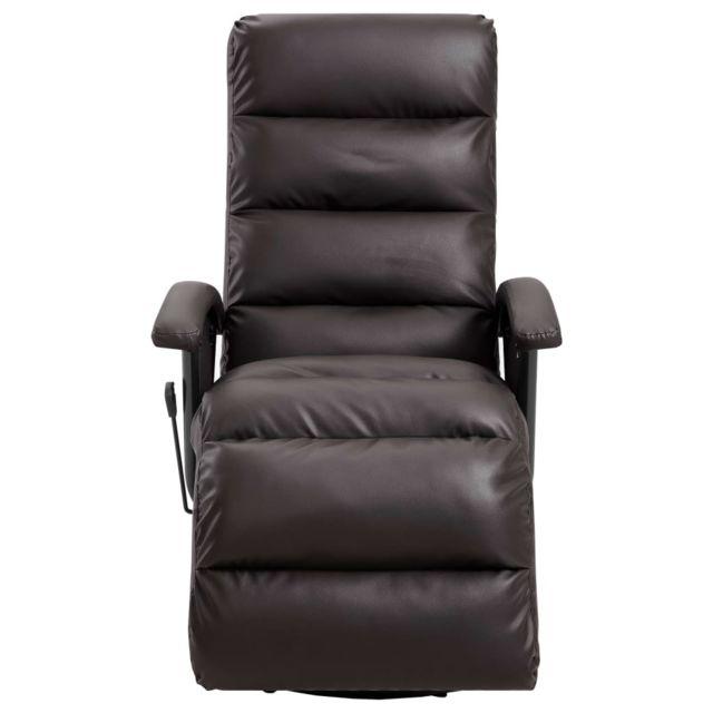Fauteuil Inclinable Tv Marron Similicuir Chaise Salon Bureau Maison