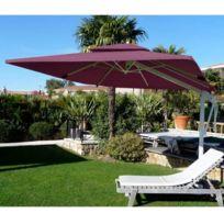 Abritez-vous Chez Nous - Parasol aluminum carré 3x3m Decor D Honfleur Bordeaux