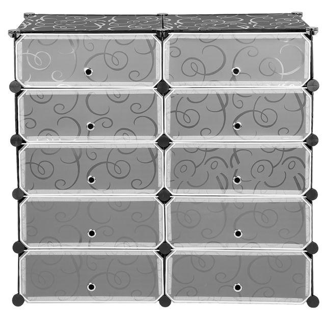 Jeobest Meuble Armoire à Chaussures 10 Cubes Diy Etagères Modulable de Rangement avec Portes Plastique - Noir