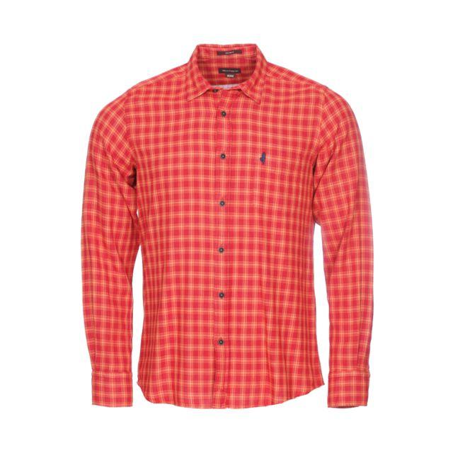 Mcs Chemise ajustée en coton rouge à carreaux