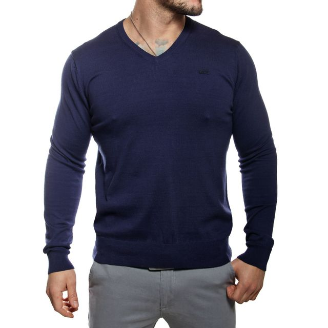 a66db5af9a4a Lacoste - Pull homme col V bleu marine en coton - pas cher Achat   Vente  Pull homme - RueDuCommerce