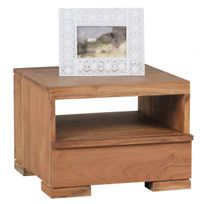 COMFORIUM - Table de chevet en bois massif acacia avec 1 tiroir et 1 étagère 40 cm coloris acacia