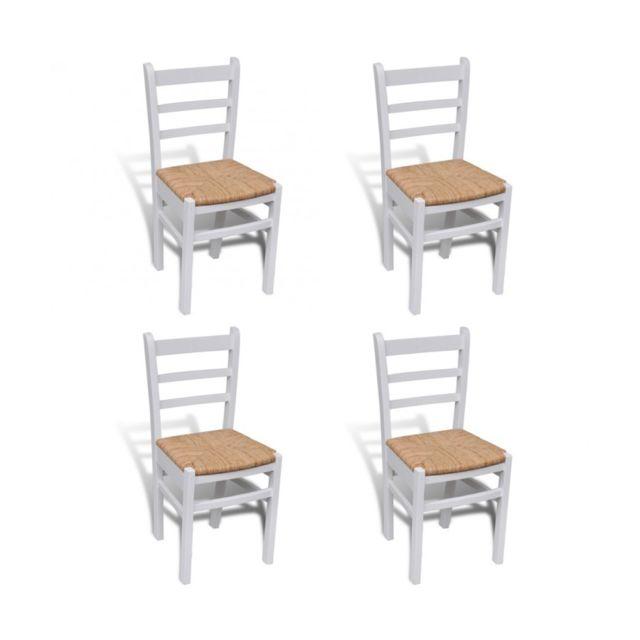 Top prix superbe 4 pcs chaise de salle manger peinture blanche neuf pas cher achat vente - Chaise de salle a manger blanche ...