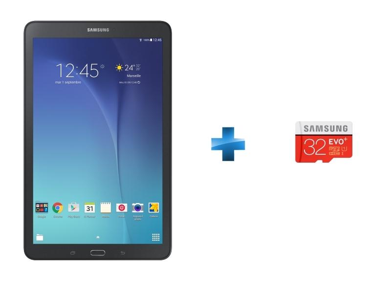 Galaxy Tab E - WiFi - Noir + Micro SDHC EVO PLUS 32 Go - Classe 10 + Adaptateur SD