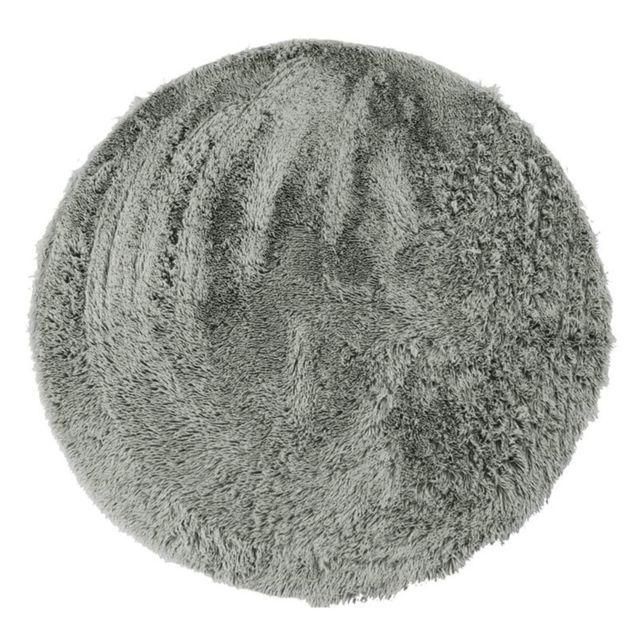 Mon Beau Tapis Neo Yoga - Tapis rond à poils longs extra-doux gris clair diam.90