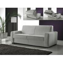 Habitat et Jardin - Canapé convertible cuir Magnifico 3 places - blanc
