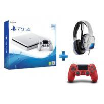 SONY - Console PS4 SLIM 500Go châssis E Blanche Manette PS4 Dual Shock 4 rouge + Casque Lvl 5 blanc