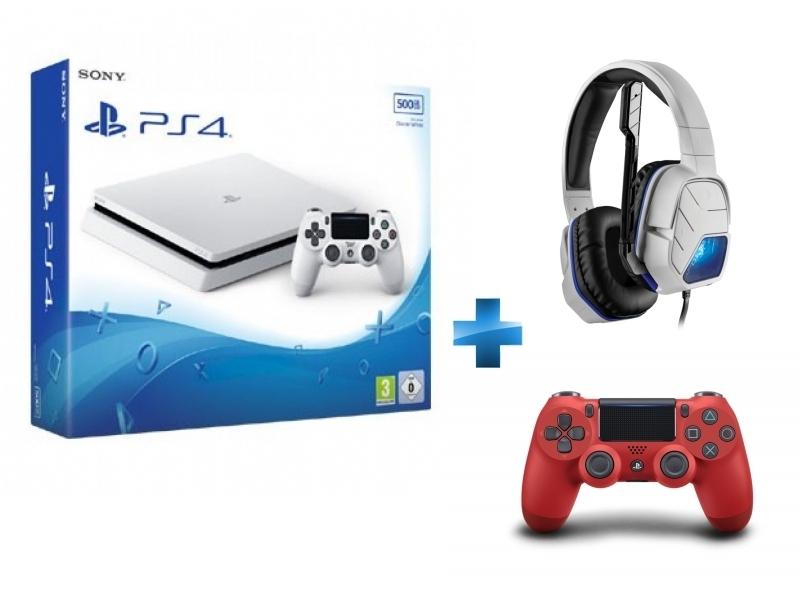 Console PS4 SLIM 500Go châssis E Blanche Manette PS4 Dual Shock 4 rouge + Casque Lvl 5 blanc