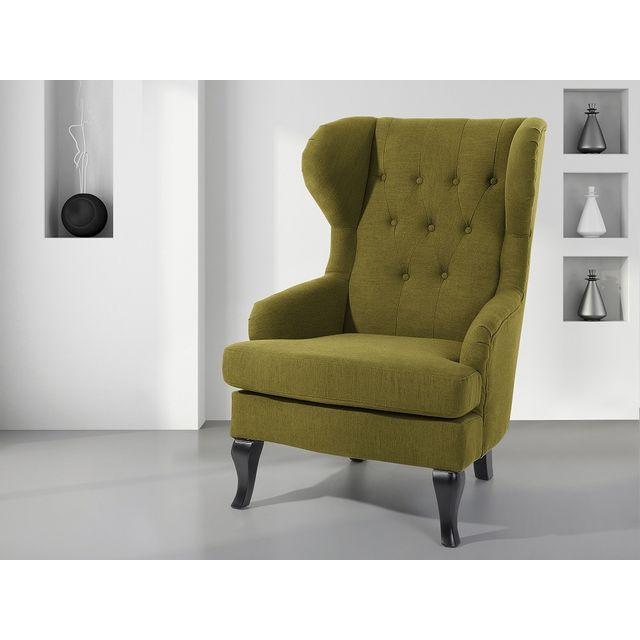 Beliani Fauteuil en tissu - fauteuil tapissé vert olive - Alta