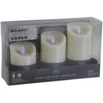 AUBRY GASPARD - Coffret 3 bougies LEDs parfumées avec télécommande Vanille