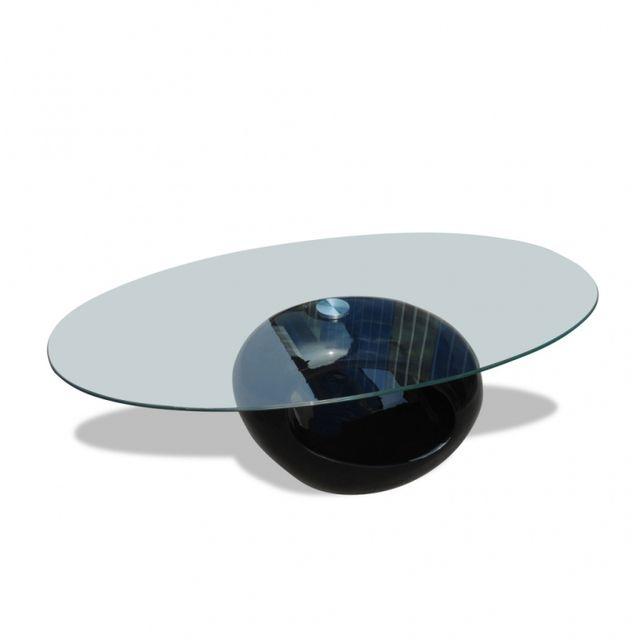 Casasmart Table basse moderne en verre pied noir