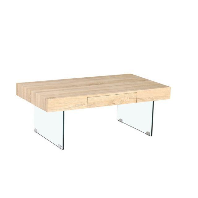 Zons Table basse en Bois 110x60x41cm Pieds en Verre