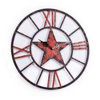 Alinéa - Star Horloge murale en métal effet vieilli D80cm