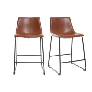 soldes miliboo tabouret de bar vintage pu marron clair. Black Bedroom Furniture Sets. Home Design Ideas
