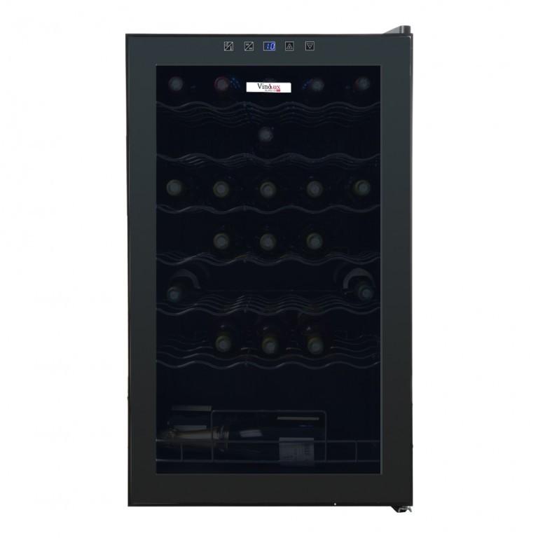 Cave à vin service porte verre, effet miroir 34 bouteilles, noir - Vxs34M