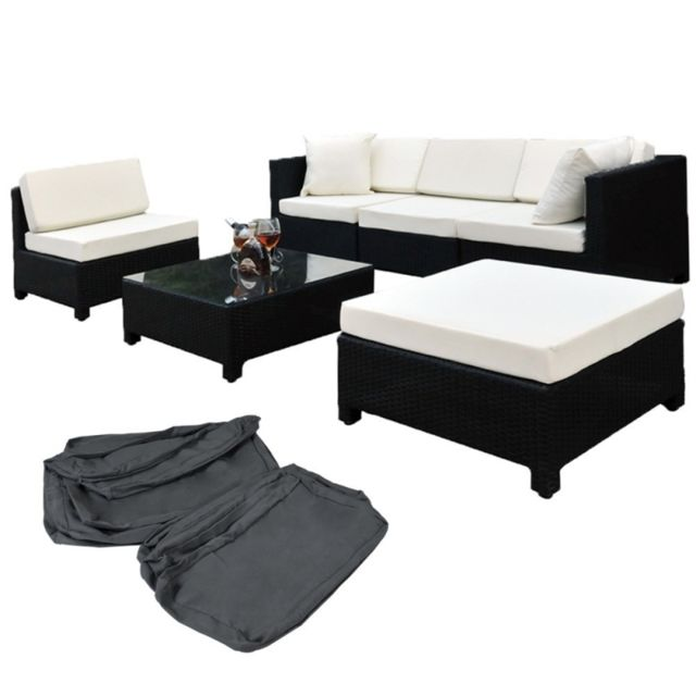 HELLOSHOP26 Salon de jardin rotin résine tressé synthétique noir + coussins + housses 2108004