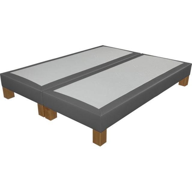 ebac sommier tapissier pieds 90 90x200 sr18 simili gris pas cher achat vente sommiers. Black Bedroom Furniture Sets. Home Design Ideas
