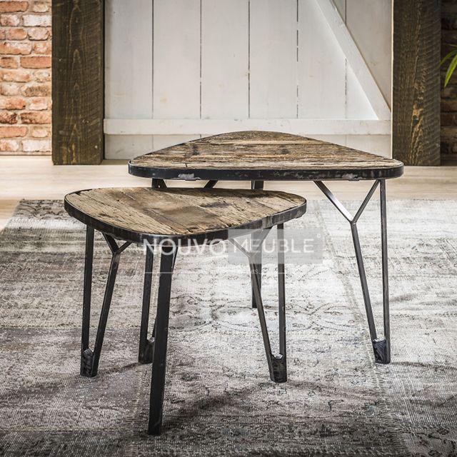 Nouvomeuble Table de salon en bois et métal Nevada