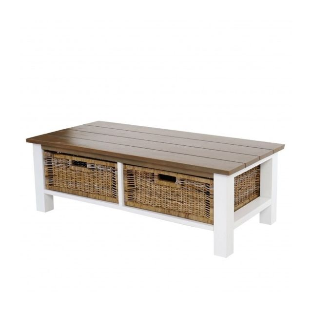 Decoshop26 Table basse en bois avec 2 paniers rotin 38x112x52cm Taba04003