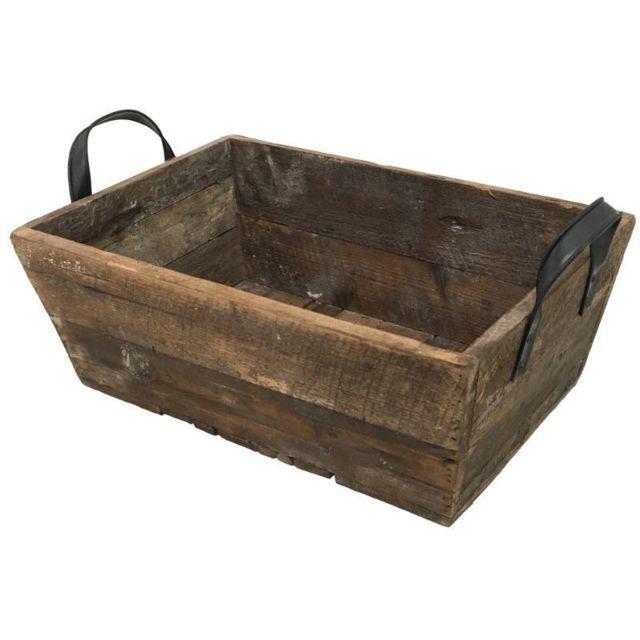 chemin de campagne casier panier caisse en bois 56x33x25 cm marron pas cher achat vente. Black Bedroom Furniture Sets. Home Design Ideas