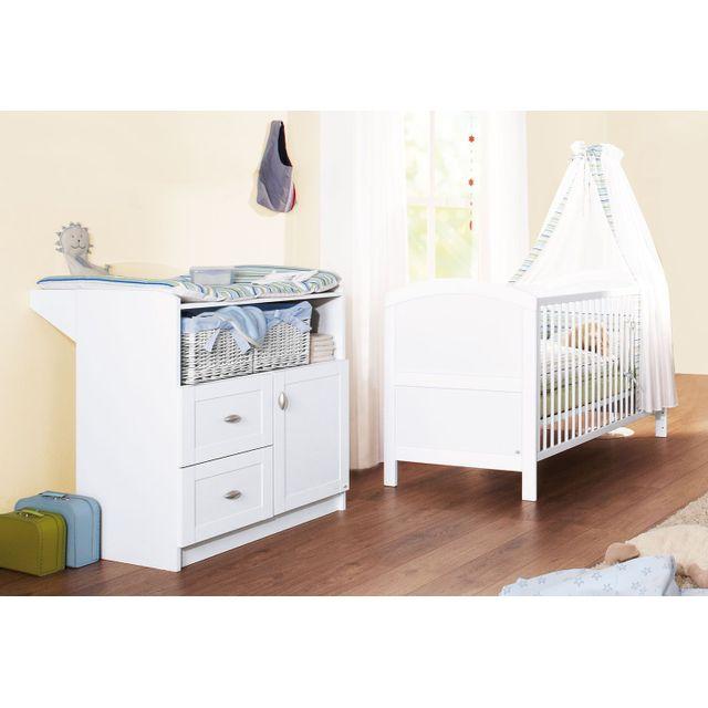 Comforium Set de 2 pièces pour chambre bébé avec lit évolutif 140x70 cm et commode à langer en bois massif coloris blanc