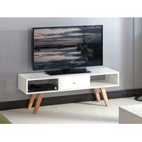 Symbiosis - Meuble Tv 1 tiroir 2 niches en bois Longueur 117 cm Nora