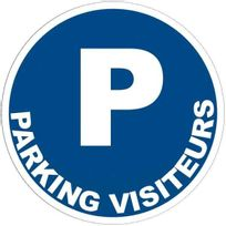 - panneau signalétique en pvc rond adhésif - parking visiteurs