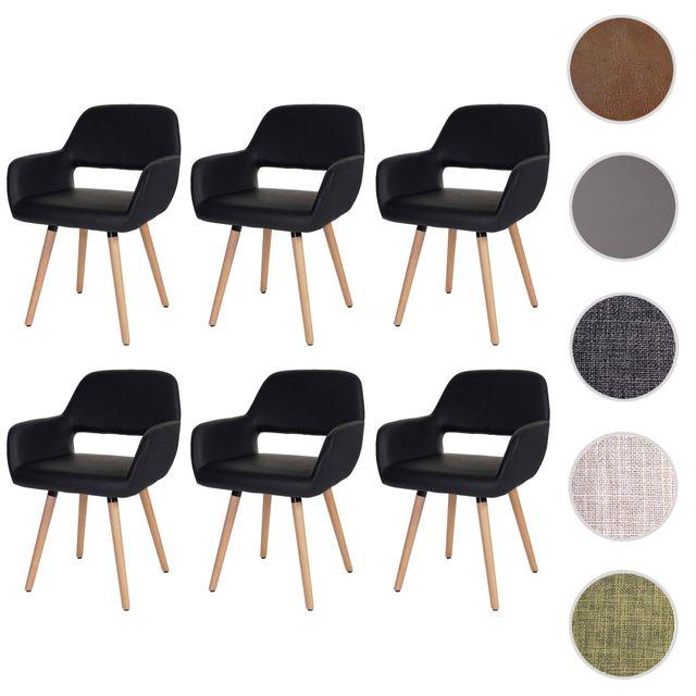 Mendler 6x chaise de salle à manger Altena Ii, fauteuil, design rétro des années 50 ~ similicuir, noir