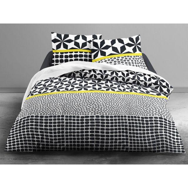 today parure housse de couette taies coton fermeture zip graphique noir blanc grafism zip. Black Bedroom Furniture Sets. Home Design Ideas
