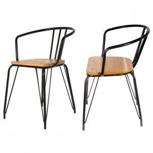 Ego Design - Chaise Elix bois et metal noir lot de 2