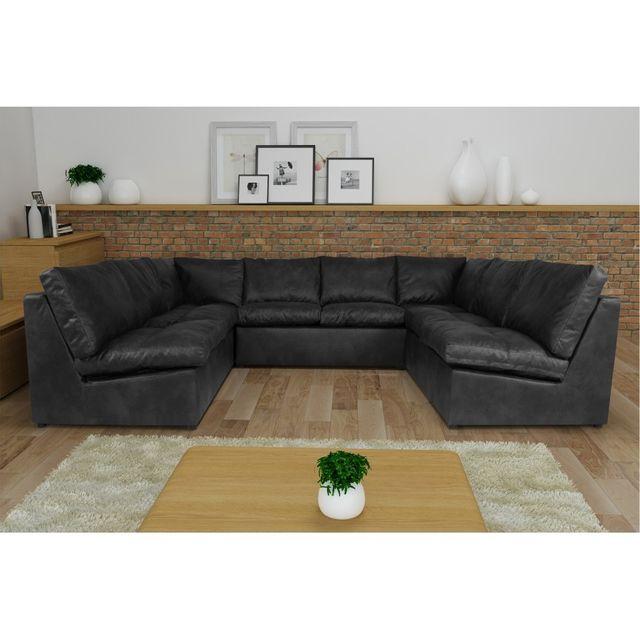 Rocambolesk Canapé d'angle Avanti Flexi 2A2A2 tobago gris anthracite sofa divan