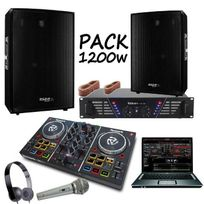 Ibiza Sound - Pack sono 1200w + contrôleur party mix numark + ampli 480w + enceintes 1200w pa dj sono light led cube1512