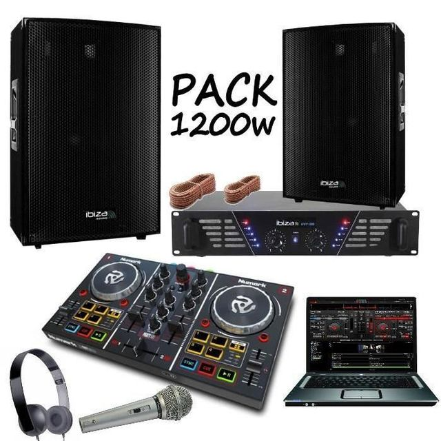 ibiza sound pack sono 1200w contr leur party mix numark ampli 480w enceintes 1200w pa dj. Black Bedroom Furniture Sets. Home Design Ideas