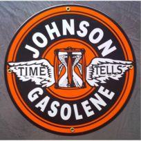Universel - Plaque emaillée johnson gasolene deco garage station service