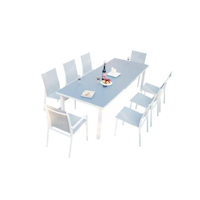 Ma Maison Mes Tendances - Ensemble table de jardin extensible 256 320 + 6  chaises 9ee620174e2e